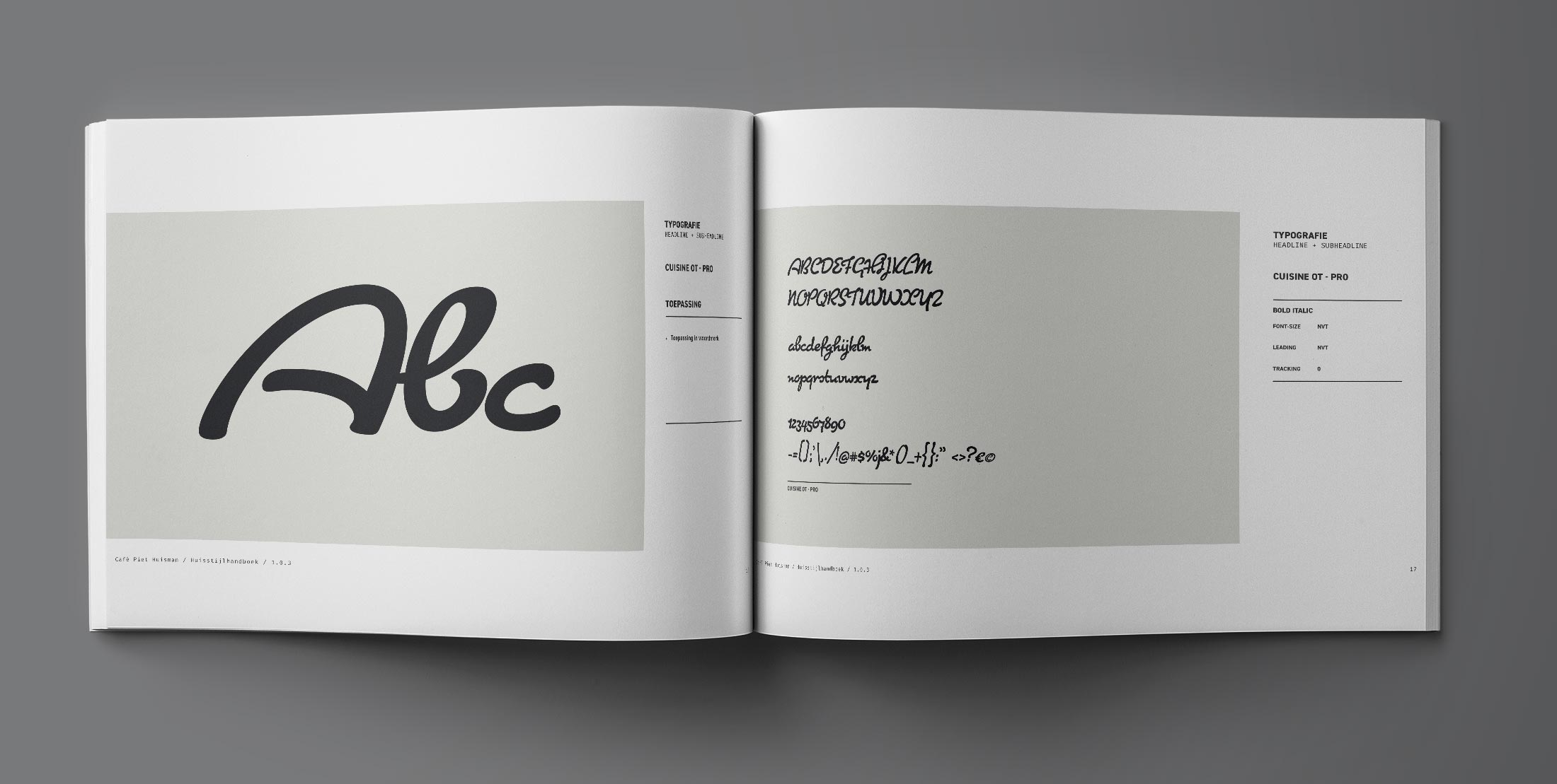 As you were, Nijmegen - Huisstijlhandboek, typografie